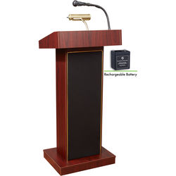 Oklahoma Sound Orator Lectern And Rechargeable Battery (Mahogany)