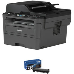 Brother MFC-L2710DW All-in-One Monochrome Printer with TN760 High Yield Black Toner Kit