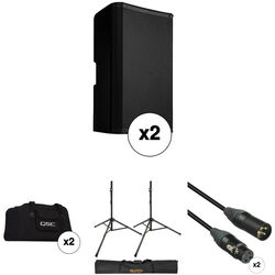 "QSC K10.2 K.2 Series 10"" 2000W Powered Speaker Pair with Essential Accessories Kit"