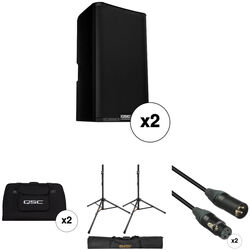 "QSC K12.2 K.2 Series 12"" 2000W Powered Speaker Pair with Essential Accessories Kit"