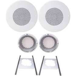 "Speco Technologies G86TG 8"" 70/25V Classic Grille In-Ceiling Speaker Kit (Off-White)"