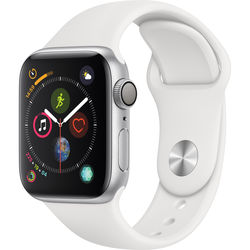 Apple Watch Series 4 (GPS Only, 40mm, Silver Aluminum, White Sport Band)