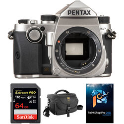 Pentax KP DSLR Camera Body with Accessory Kit (Silver)