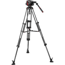 Manfrotto 504HD Head & Carbon Fiber Twin Leg Video Tripod Kit (100/75mm, Mid-Level Spreader)