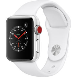 Apple Watch Series 3 38mm Smartwatch (GPS + Cellular, Silver Aluminum Case, White Sport Band)
