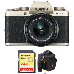 FUJIFILM X-T100 Mirrorless Digital Camera with 15-45mm Lens and Accessory Kit (Champagne Gold)