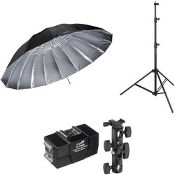 Impact 7' Parabolic Umbrella (Silver) With Light Stand Kit