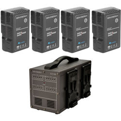 GEN ENERGY 4X 195Wh V-Mount Battery W/ G-C100 Four Channel Charger, 16.8V  /  6A
