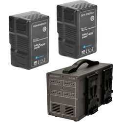 GEN ENERGY 2X 290Wh V-Mount Battery W/ G-C100 Four Channel Charger, 16.8V  /  6A