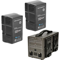 GEN ENERGY 2X 290Wh V-Mount Battery W/ G-CB100 Four Channel Charger, 16.8V  /  6A