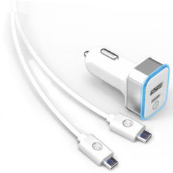iEssentials 3.4A USB Type-A and USB Type-C Car Charger with USB Type-C Cable