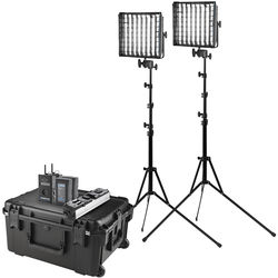 Westcott Flex Cine DMX Bi-Color LED Mat Two-Light Fixture Travel Kit with Batteries and Stands (1 x 1')