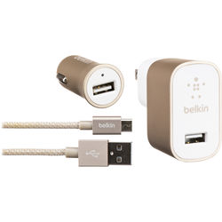 Belkin Home and Car USB Chargers with Micro-USB Cable (Gold)