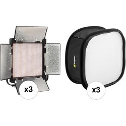 Genaray SpectroLED 1200 Bi-Color Studio LED 3-Light Softbox Kit