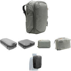 Peak Design Travel Backpack, Tech Pouch, Wash Pouch, Rain Fly, Small and Medium Camera Cube Kit (Sage)