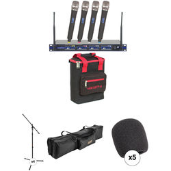 VocoPro UHF-5800-10 PRO 4-Channel Wireless Handheld Microphone System with Stands and Bag Kit (913.3 to 925.8 MHz)