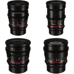 Rokinon 24, 35, 50, 85mm T1.5 Cine DS Lens Bundle for Micro Four Thirds Mount
