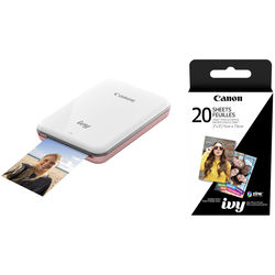 """Canon IVY Mini Mobile Photo Printer (Rose Gold) with 2 x 3"""" ZINK Photo Paper Pack (20 Sheets)"""