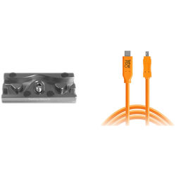 Tether Tools TetherPro USB Cable with TetherBLOCK Quick Release Plate Kit (USB Type-C Male to 8-Pin Mini-USB 2.0 Type-B Male, Orange)