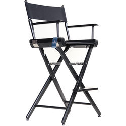 """Filmcraft Pro Series Tall Director's Chair (30"""", Black with Black Canvas)"""