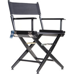 """Filmcraft Pro Series Low Director's Chair (18"""", Black with Black Canvas)"""