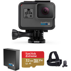 GoPro HERO6 Black Kit with Head Strap, Extra Battery, and 32GB microSD Card