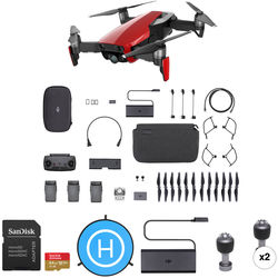 DJI Mavic Air Fly More Drone with 64GB Card & Landing Pad Kit (Flame Red)
