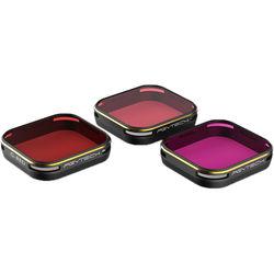PGYTECH Filter For Gopro 6/5 Diving Set(3 Pack)  Magenta/Snorkelorange/Red