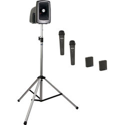 Anchor Audio MEGA-BP4-HHBB MegaVox 2 PA with Stand, and Four Wireless Handheld/Bodypack Lapel/Headset Mics Kit