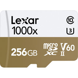 Lexar 256GB Professional 1000x UHS-II microSDXC Memory Card with SD Adapter