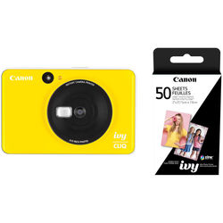Canon IVY CLIQ Instant Camera Printer with 50 Sheets of Paper Kit (Bumblebee Yellow)