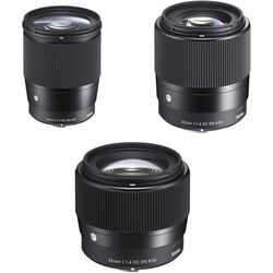 Sigma 16mm, 30mm, and 56mm f/1.4 DC DN Contemporary Lenses Kit for Sony E