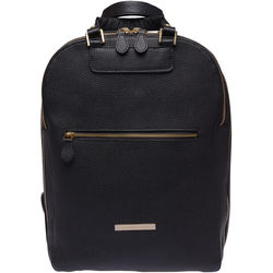 FEDERICO SERRANI Agatha Leather Photo and Laptop Backpack (Black and Gold)