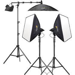 77d5efc9a151 Impact 3-Head Fluorescent Lighting Kit with Boom Arm Kit