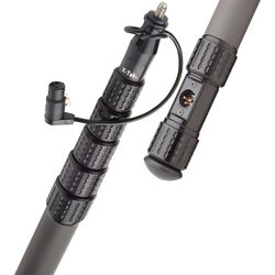 K-Tek KP9CCR 9' KlassicPro Graphite 6-Section Boompole with Internal XLR Coiled Cable, Side Exit