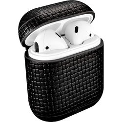 Royal Individual AMZELCBRD-BLK Braided Series Leather AirPods Case (Black)