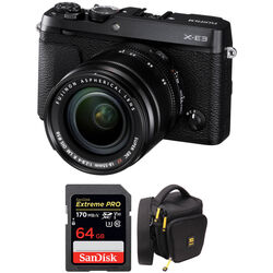FUJIFILM X-E3 Mirrorless Digital Camera with 18-55mm Lens and Accessories Kit (Black)
