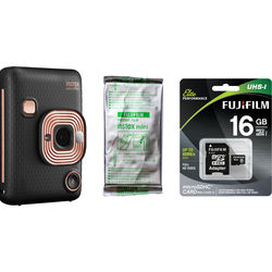FUJIFILM INSTAX Mini LiPlay Hybrid Instant Camera with Film and Memory Card Bundle (Elegant Black)