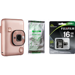 FUJIFILM INSTAX Mini LiPlay Hybrid Instant Camera with Film and Memory Card Bundle (Blush Gold)