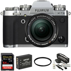 FUJIFILM X-T3 Mirrorless Digital Camera with 18-55mm Lens and Accessories Kit (Silver)