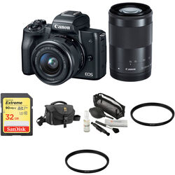 Canon EOS M50 with 15-45mm and 55-200mm Lenses and Accessories Kit