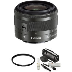Canon EF-M 15-45mm f/3.5-6.3 IS STM Lens with UV Filter Kit (Graphite)