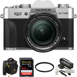 FUJIFILM X-T30 Mirrorless Digital Camera with 18-55mm Lens and Accessories Kit (Silver)