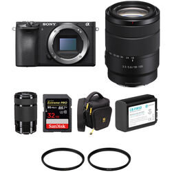 Sony Alpha a6500 Mirrorless Digital Camera with 18-135mm and 55-210mm Lenses and Accessories Kit