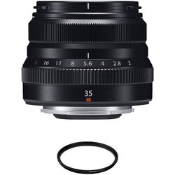 FUJIFILM XF 35mm f/2 R WR Lens with UV Filter Kit (Black)