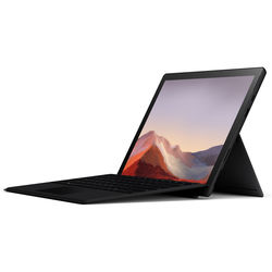 """Microsoft 12.3"""" Multi-Touch Surface Pro 7 Matte Black Bundle with Black Surface Pro Type Cover"""