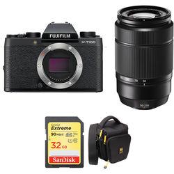 FUJIFILM X-T100 Mirrorless Digital Camera with 50-230mm Lens and Accessories Kit (Black)