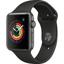 Apple Watch Series 3 42mm Smartwatch (GPS Only, Space Gray Aluminum Case, Black Sport Band)