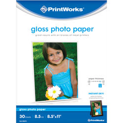 """PrintWorks Glossy Photo Paper for Inkjet Printers (8.5x11"""", 30 Sheets)"""