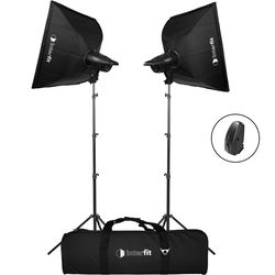 Studio Essentials 200Ws Value Flash Head 2-Light Kit with Softboxes and Wireless Remote